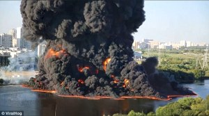Pipeline river fire in Moscow